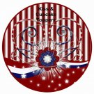 Red, White & Blue Patriotic Floral  Cupcake Picks & Toppers