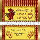 Hearts on Fire Red ~ Valentine's Day Standard Size Candy Bar Wrapper