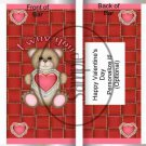 I Wuv You Teddy Red ~ Valentine's Day Standard Size Candy Bar Wrapper