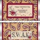 Paisely SWAK  ~ Valentine's Day Standard Size Candy Bar Wrapper