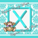 Aqua Baby Teddy Damask MINI Candy Bar Alphabet & Numbers Wrappers