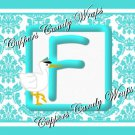 Aqua Baby Stork Damask MINI Candy Bar Alphabet & Numbers Wrappers