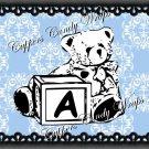Blue & Black Teddy Bear Blocks Damask  MINI Candy Bar Alphabet  Wrappers
