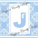 Blue Baby Damask MINI Candy Bar Alphabet & Numbers Wrappers