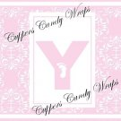 Pink Baby Damask MINI Candy Bar Alphabet & Numbers Wrappers