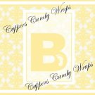 Yellow Baby Damask MINI Candy Bar Alphabet & Numbers Wrappers