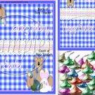 Blue Plaid Bunny  ~ Easter ~ Bag Topper