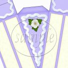 Purple Icing and Flowers ~ Florals ~ Cake Slice Box