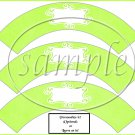 Linen Bright Lime Green White Curley Text Box ~  Cupcake Paper Wrappers ~ Set of 1 Dozen