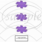 White Wrapper Solid Dark Purple Curley Text Box ~  Cupcake Paper Wrappers ~ Set of 1 Dozen