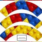 Faux Lego Legos Set #1 ~  Cupcake Paper Wrappers ~ Set of 1 Dozen