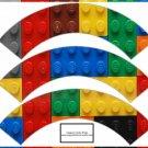 Faux Lego Legos Set #3 ~  Cupcake Paper Wrappers ~ Set of 1 Dozen
