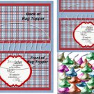 Father's Day Red Border Blue Plaid  ~ Bag Topper