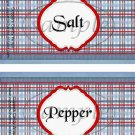 Father's Day Blue Border Blue Plaid ~ Salt & Pepper Shaker Wrappers