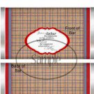 Father's Day Red Border Brown Plaid ~ Candy Bar Wrapper