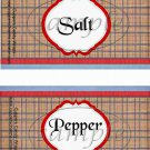 Father's Day Red Border Brown Plaid  ~ Salt & Pepper Shaker Wrappers