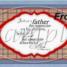 Father's Day Blue Border Brown Plaid  ~ Pint Glass Jar Set