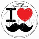 I ♥ Love Mustache  ~ Cupcake Picks & Toppers