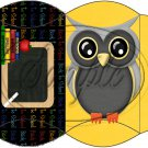Owl Back To School Yellow Black Back #1  ~ Pillow Box