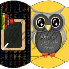Owl Back To School Yellow Black Back #4  ~ Pillow Box