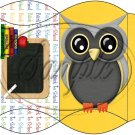 Owl Back To School Yellow White Back #1  ~ Pillow Box