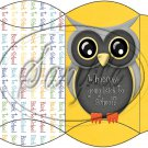 Owl Back To School Yellow White Back #3  ~ Pillow Box