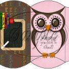 Owl Back To School Pink & Brown Back #3 ~ Pillow Box