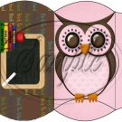Owl Back To School Pink & Brown Back #4 ~ Pillow Box