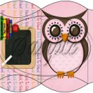 Owl Back To School Pink & Pink  Back #4 ~ Pillow Box