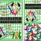 Green Gingham Rag Doll ~ School Days Educational Treat Bag Toppers