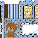 Teddy Blue with Brown Polka Dots  ~Carriage Popcorn Box or Gift Box