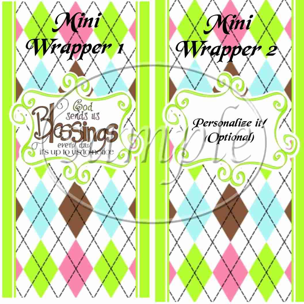 Green God's Blessings ~ MINI Candy Bar Wrappers