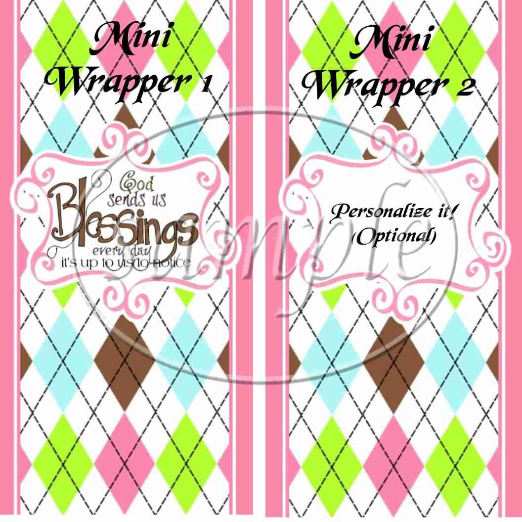 Pink God's Blessings ~ MINI Candy Bar Wrappers