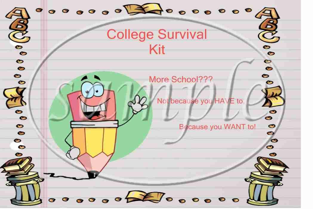 College Survival Kit Pencil ~ School Days Educational  ~ Gallon Can Set