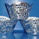 Silver Foil Lace  ~  Cupcake Paper Wrappers ~ Set of 1 Dozen