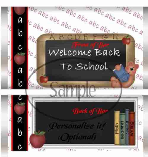Welcome Back ~  Standard Candy Bar Wrapper
