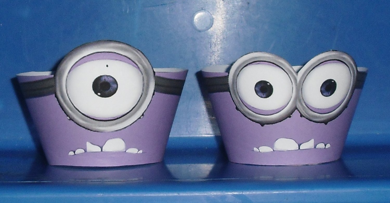 Minions Minion Evil Purple Faux or Inspired By ~  Cupcake Paper Wrappers ~ Set of 1 Dozen