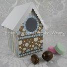 Blue & Brown Bubbles ~  Mini Birdhouse