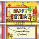 Happy 9th Birthday Balloons ~ Standard Candy Bar Wrapper