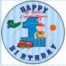 Baby's First 1st Birthday Blue Stripe ~  Cupcake Pick & Toppers ~ Set of 1 Dozen