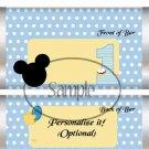 Boy 1st First Birthday #2 Faux or Inspired by Disney ~ Standard 1.55 oz Candy Bar Wrapper  SOE