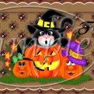 Cat and Halloween Pumpkins  ~ Pint Glass Jar Set