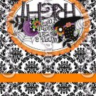 Happy Halloween Damask Black #4 ~ MINI Matchbook Nail File COVER