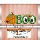 Boo Halloween ~ Standard 1.55 oz Candy Bar Wrapper  SOE