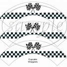 Faux NASCAR  Crossed Flags ~  Cupcake Wrappers ~ Set of 1 Dozen
