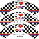 Faux I Love ♥ (Heart) NASCAR   ~  Cupcake Wrappers ~ Set of 1 Dozen