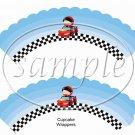 Faux NASCAR Babies   ~  Cupcake Wrappers ~ Set of 1 Dozen