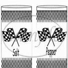 Faux NASCAR Crossed Checkered Flags ~ Salt & Pepper Shaker Wrappers