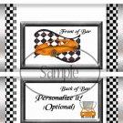 Faux NASCAR  Orange  ~ Standard 1.55 oz Candy Bar Wrapper  SOE
