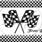 Faux NASCAR Crossed Checkered Flags  ~ Pint Glass Jar